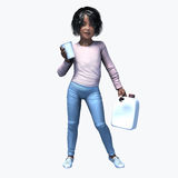 Little black girl holding cup and contatiner 1. Little black girl holding a cup and container of a healthy beverage Stock Photography