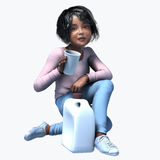 Little black girl holding cup and contatiner 4 Stock Photos