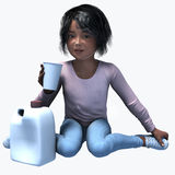 Little black girl holding cup and contatiner 5. Little black girl holding a cup and container of a healthy beverage Royalty Free Stock Photo