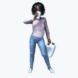 Little black girl holding cup and contatiner 2. Little black girl holding a cup and container of a healthy beverage Royalty Free Stock Images