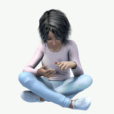 Little black girl looking a bug. Little girl sitting crossed leg looking a lady bug Royalty Free Stock Images