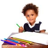 Little black schoolboy Stock Images