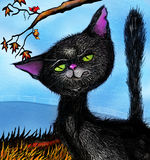 Little black snarling cat. A little scruffy angry black cat snarling with teeth bared. He or she is outside under a tree with the branches peeking down with two Royalty Free Stock Photography