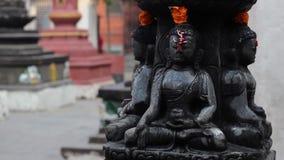 Little black stupa of Buddha with tikka stock video footage