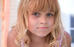 Little blond beautiful girl portrait Stock Photos