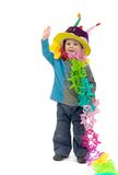 Little blond boy. Dressed up for his birthday party Royalty Free Stock Photos