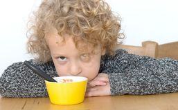 Little boy does not want to eat Royalty Free Stock Image