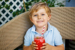 Little blond boy drinking healthy watermelon juice in summer. Royalty Free Stock Photo