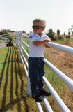 Little Blond Boy on the Fence Stock Photo