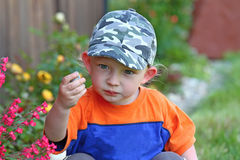 A little blond boy playing with a stone Royalty Free Stock Images