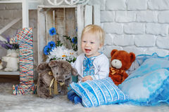 Little blond boy in traditional Ukrainian embroidered shirt Royalty Free Stock Photography