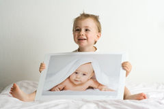 Little blond boys stock photo