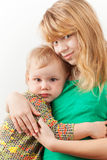 Little blond Caucasian sisters hugging Royalty Free Stock Photo