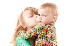Little blond Caucasian sisters portrait on white Royalty Free Stock Image