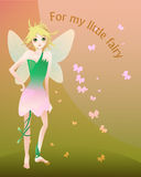Little blond fairy illustration. Cartoon illustration of little cute blond fairy in tulip dress with wings on green-pink background with text stock illustration