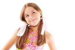 Little blond girl with bows. Little girl with bows standing on white background Stock Images