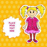 Little blond girl card Royalty Free Stock Images