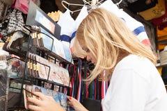 Little Blond Girl is choosing souvenirs, Paris Stock Photos