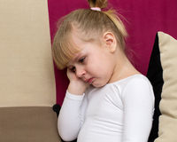 Little blond girl is crying. Violence to children - little blond girl is crying Royalty Free Stock Photo