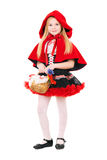Little blond girl. Dressed as little red riding hood with basket. Isolated on white Stock Photography