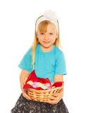 Little blond girl with Easter eggs Stock Photography