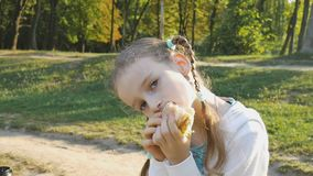 Little blond girl is eating a hamburger sitting on the bench in the park. Wrong child nutrition, unhealthy lifestyle stock video footage