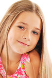 Little blond girl with long hair. Portrait of little blond girl with long hair on white background Stock Images