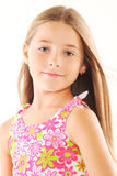 Little blond girl with long hair stock photography