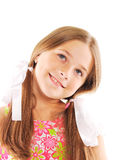 Little blond girl smiling. Isolated on white Stock Image