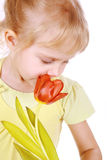 Little blond girl sniffing tulip Stock Photography