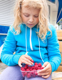 Little blond girl takes raspberry from box Royalty Free Stock Photo