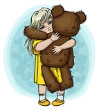 Little blond girl with teddy bear Stock Images