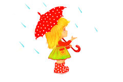 Little blond girl in with umbrella in rain illustration  Stock Images