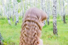 Little girl in the forest. Little blond girl with wavy hair in the forest Stock Images