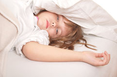 Little blond girl wearing Stock Images