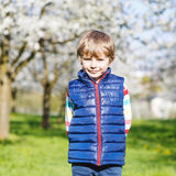 Little blond kid boy having fun on blooming cherry garden Royalty Free Stock Photography