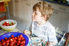 Little blond kid boy helping and making strawberry jam in summer. Funny child cleaning berries and preparing for cooking jam. Kid eating ripe strawberries in Stock Images