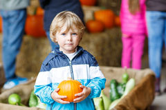 Little blond kid boy holding green pumpkin Royalty Free Stock Photos