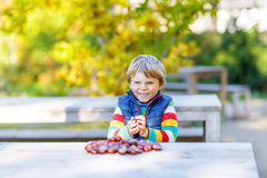 Little blond kid playing with chestnuts in autumn park. Royalty Free Stock Image