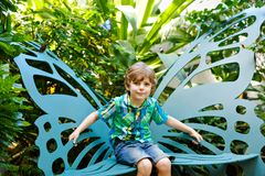 Little blond preschool kid boy discovering flowers and butterflies at botanic garden. Schoolchild interested in biology. Active educational leisure with kids stock photos