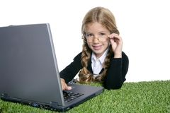 Little blond school girl  with laptop Royalty Free Stock Photos
