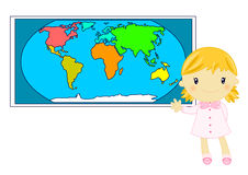 Little blond school girl studiyng geography. Illustration of a cute blond little school girl wearing pinafore and studiyng geography in front of the world map on Royalty Free Stock Photos