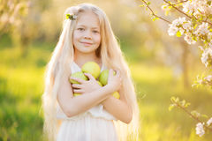 Little blonde girl in blossom apple tree garden Royalty Free Stock Photos