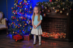 Little blonde girl  in blue and white dress. Little blonde girl at the Christmas tree in blue and white dress Stock Images