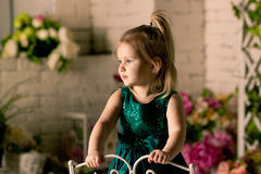 The little blonde girl  in a green dress Royalty Free Stock Images