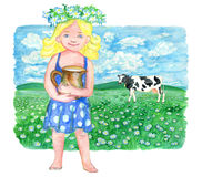 Little blonde girl holding pitcher of milk against the background of field and cow. Vintage rural background with summer landscape, watercolor illustration with Royalty Free Stock Photo