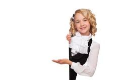 Little blonde girl over blank billboard Stock Photography