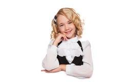 Little blonde girl over blank billboard Stock Image