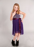 Little blonde girl in party dress. Fashion shot of young blonde girl in party dress Royalty Free Stock Photos