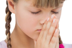 Little blonde girl praying Stock Photography